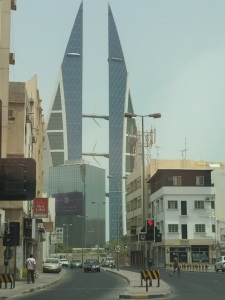 A view of one of the iconic buildings in Bahrain, the Bahrain World Trade Center, seen from one of the side streets close to the souq